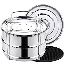 Aozita Stackable Steamer Insert Pans with Sling for Instant Pot Accessories 8 Quart – Food Steamer for Pressure Cooker Pot in Pot Cooking, Upgrade Interchangeable Lids Included