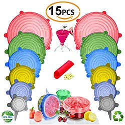 BUNDLE 15PCS – 13pcs Silicone Stretch Lids and 2 BONUS, Various Sizes and Shape of Containers,Reusable, Durable and Expandable Food Covers As Seen On TV,Keeping Food Fresh, Dishwasher and Freeze