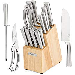 17 Piece Chef Knife Set – Includes Solid Wood Block, 6 Stainless Steel Kitchen Knives, Set of 8 Serrated Steak Knives, Heavy Duty Poultry Shears, and a Carbon Steel Sharpening Rod