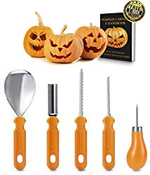 Best Deal Pumpkin Carving Kit – Professional Heavy Duty Stainless Steel Tool Set, Includes 5 Carving Tools, Used As a Carving Knife for Pumpkin Halloween Decoration