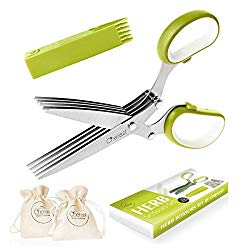 Chefast Herb Scissors Set Multipurpose Cutting Shears with 5 Stainless Steel Blades, 2 Jute Pouches, and Safety Cover with Cleaning Comb – Cutter/Chopper / Mincer for Herbs – Kitchen Gadget