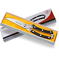 Gelindo Kitchen Scissors – Heavy Duty Stainless Steel- Spring Loaded Shears – Sharp Blade- Safety Clip- Rust Free- Comfortable Handle- Great for Poultry, Fish, Chicken, Beef, BBQ, Herbs & Plastic