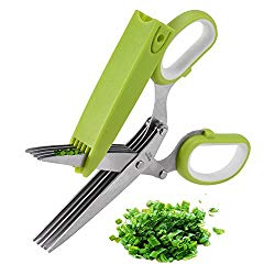 Herb Scissors, X-Chef Multipurpose Kitchen Scissors 5 Blades Stainless Steel with Clean Comb Cover Fast and Easy Clean