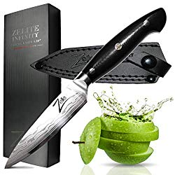 ZELITE INFINITY Paring Knife 4.25 Inch >> Executive-Plus Series >> Best Quality Japanese AUS10 Super Steel 67 Layer High Carbon Stainless Steel, Incredible G10 Handle, Full-tang, Larger Deeper Blade