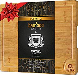 Bamboo Cutting Board for Kitchen (10 x 15 inches) with Handles and Juice Groove – Butcher Block for Chopping Meat and Vegetables