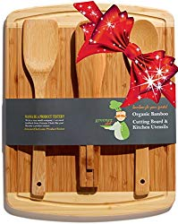 Bamboo Cutting Board Housewarming & Christmas Holiday Gift Set – With Bonus 3-Piece Kitchen & Cooking Utensils – Wooden Spoon, Salad Tongs and Wood Spatula – Best Mother's Day and Wedding Gift Idea