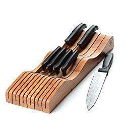 Bamboo In-Drawer Knife Organizer Wooden Knife Block without Knives, Counter Knife Holder – Bambusi