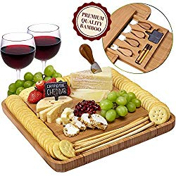 Cheese Board and Knife Set – Natural Crafted Bamboo Wood for Slicing Cheese | Hidden Drawer with Stainless Steel Cutting Knives, Slate Chalk Labels & Markers | by Weegee