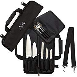 Chef Knife Roll Bag (6 slots) is Padded and Holds 5 Knives PLUS a Protected Pouch for Your Knife Steel! Our Durable Knife Carrier Includes Shoulder Strap, Handle, and Business Card Holder. (Bag Only)