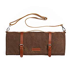 Chef Knife Roll Bag – Handmade Waxed Canvas and Leather Knife Bag Stores 10 Knives + Zipper Pocket and Shoulder Strap (Dark Brown)