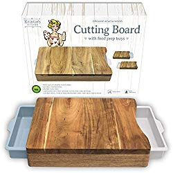 Cutting Board with Trays – Organic Acacia Wood Butcher Block with Containers White Pale Blue – Naturally Antimicrobial – For Meat Vegetables Bread or Cheese Board
