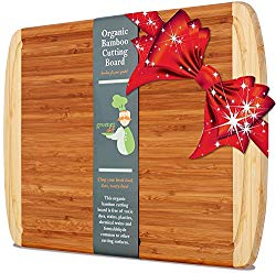 Extra Large Organic Bamboo Cutting Board for Kitchen – NEW CRACK-FREE DESIGN – Best Wood Chopping Boards w/ Juice Groove for Carving Meat, Wooden Butcher Block for Vegetables & Serving Tray for Cheese