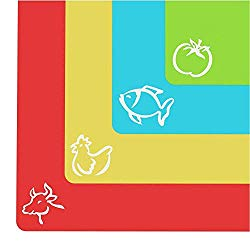 "Extra Thick Flexible Cutting Mats With Food Icons & ""EZ-Grip"" Back (Set Of 4)"