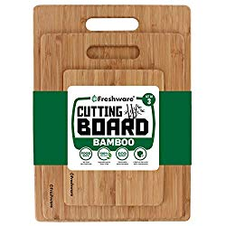 Freshware Bamboo Cutting Board – Wood Chopping Boards for Food Prep, Meat, Vegetables, Fruits, Crackers & Cheese, Set of 3