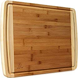 """Indigo True Extra Large Bamboo Cutting Boards for Kitchen with Deep Juice Groove – 17.5"""" x 13.5"""" x 0.75″"""