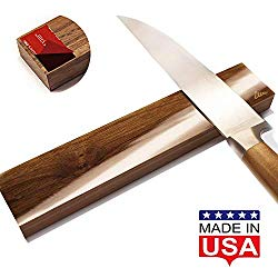 Magnetic Knife Strip Self Adhesive – 10 inch Magnet holder – Utensil Rack for Kitchen or Bar – Wall or Fridge Mount – Walnut Wood – Made in USA