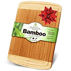 Midori Way Thick Bamboo Wood Cutting Board with Juice Grooves – Extra Large 18×12 inches