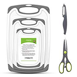 PHILWIN Cutting Boards for Kitchen, Plastic Chopping Board Set of 5 with Non-Slip Feet and Deep Drip Juice Groove, Easy Grip Handle, BPA Free, Non-porous, Dishwasher Safe