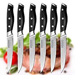 Steak Knives,Premium Steak Knife Set of 6 Stainless Steel- Professional Quality For Multipurpose Use Stainless Steel Serrated 5-inch Blade – Safe Streak Knifes.(DJ007) …