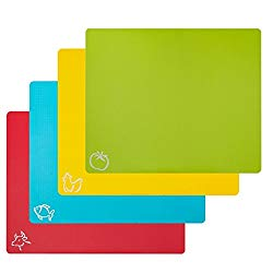 """STGA Cutting Board Mats, Food Grade Plastic Kitchen Cutting Mat With Food Icons, Set of 4 (15""""×12"""")"""