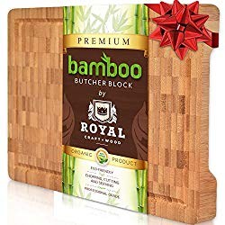Thick Bamboo Wood Cutting Board/Kitchen Butcher Block – Heavy Duty Chopping Board With Juice Grooves and Handles. Best for Carving Meat, Fish and Chicken | Perfect Housewarming Gift