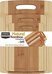 Utopia Kitchen Bamboo Cutting Board 3 Piece Set – Extra Durable – Better Than Ordinary Wood Cutting Boards – Large, Medium and Small Bamboo Cutting Boards for Bread, Vegetables, Chicken