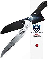DALSTRONG Serrated Offset Bread and Deli Knife- Shogun Series- AUS-10V Japanese Super Steel 67 Layers- Vacuum Treated- 8″ – Included Sheath