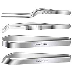 4 Pieces Fish Bone Tweezers Set, Two 4.6″ Stainless Steel Tweezer and Two 5.5″ Tongs for Cooking Food Design styling.