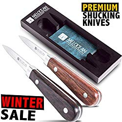 Oyster Shucking Knife Set of 2 – Professional Oyster Knife Shucker Clam Opener Kit in Lovely Box – Bonus Ebook and Brochure Included