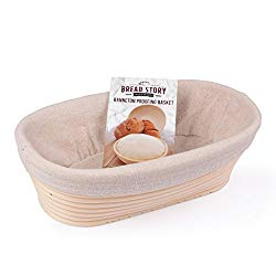 (10×6 inch) Oval Proofing Basket Set by Bread Story- Oval Banneton/Brotform Handmade Unbleached Natural Cane Bread Baking Kit with Cloth Liner + FREE Bread Baking Ebook, Course Discount, Coupon