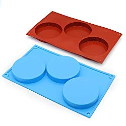 2-Pack 3-Cavity Cake Molds Silicone Resin Coaster Mold 3.9 Inch Round Disc Non-Stick Baking Molds, Mousse Cake Pan, French Dessert, Pie, Candy, Soap, Dia 10cm