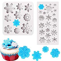 2 Pieces 3D Snowflake Fondant Mold Christmas Snowflake Silicone Cake Candy Mold for Cake Cupcake Polymer Clay Crafting Project