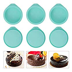 6-Pack Silicone Cake Molds 4 Inch Round Silicone Cake Pans Green Baking Pan Set Silicone Baking Mold DIY Rainbow Cakes and Round Resin Coaster Molds, 0.8 Inch Deep