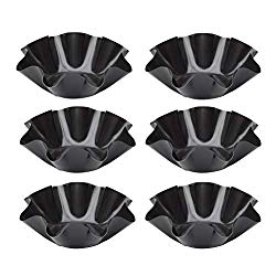 Aybloom Tortilla Pan Set – 6pcs Non-Stick Carbon Steel Taco Salad Bowl Makers Tortilla Shell Pans (Black)