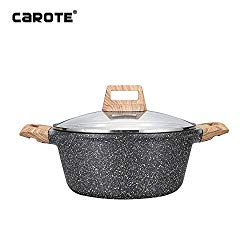 Carote 9.5 inch/4.3 Quart Non-stick Granite Stone Coating Casserole Dish with lid…