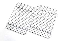 Checkered Chef Cooling Racks For Baking – Quarter Size – Stainless Steel Cooling Rack/Baking Rack Set of 2 – Oven Safe Wire Racks Fit Quarter Sheet Pan – Small Grid Perfect To Cool and Bake