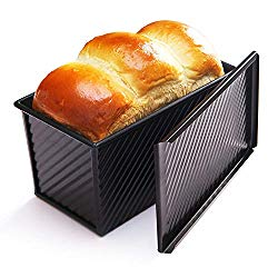 CHEFMADE Loaf Pan with Lid, Non-Stick Bakeware Carbon Steel Bread Toast Mold with Cover for Baking Bread FDA Approved – BLack
