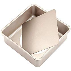 CHEFMADE Square Cake Pan, 8-Inch Deep Dish with Removable Loose Bottom Non-Stick Square Bakeware, FDA Approved for Oven Baking (Champagne Gold)