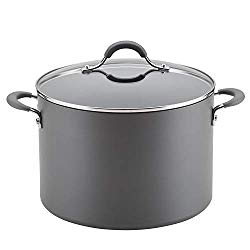 Circulon 83909 Radiance Hard Anodized Nonstick Stock Pot/Stockpot with Lid – 10 Quart, Gray