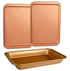 CopperKitchen Original Cookie Sheet & Roasting Tray Set – 3 pcs Toxic Free NONSTICK – Organic Environmental Friendly Premium Coating – Durable Quality – 2 X Baking Sheets 1 X Roasting Pan – BAKEWARE