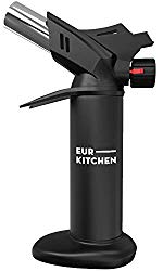 EurKitchen Butane Culinary Kitchen Torch – Butane Fuel Not Included – Refillable Food Blow Torch for Creme Brulee and To Perfectly Sear Steak, Fish – Kitchen Lighter Tool for Cooking with Finger Guard
