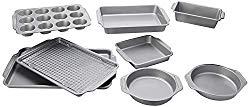 Farberware 46650 Nonstick Bakeware Set with Nonstick Bread Pan, Baking Pans, Cookie Sheet / Baking Sheet, Cake Pans and Muffin Pan / Cupcake Pan – 10 Piece, Gray