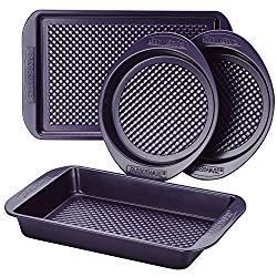 Farberware 47135 Nonstick Bakeware Set with Nonstick Cookie Sheet/Baking Sheet, Baking Pan and Cake Pans – 4 Piece, Purple