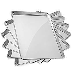 GRIDMANN 18″ x 26″ Commercial Grade Aluminum Cookie Sheet Baking Tray Pan Full Sheet – 6 Pans