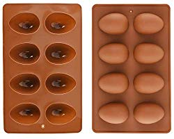 Mirenlife 8 Cavity Silicone Egg Molds, Egg Tray, Egg Shape Ice Tray, Silicone Molds for Cake Decorating, Chocolate Mold, Candy Mold, Jello Mold, Baking Mold for Muffin, Bread and More, Set of 2