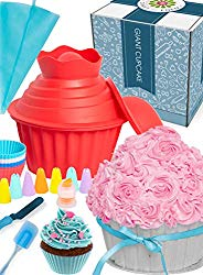 OMG Giant Cupcake Mold Pan – Huge Fun, Jumbo Smash Cake Big Silicone, Extra Large Cake Decorating Supplies, Icing Piping Bags Tips, Muffin Liner Cups, Oversize Baking and Frosting Accessories Gift Set