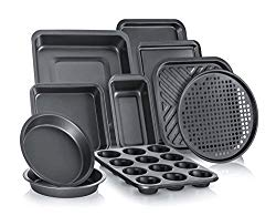 Perlli 10-Piece Non-Stick Bakeware Set, Includes Oven Crisper, Pizza Tray, Roasting, Loaf, Muffin, Square, 2 Round Cake Baking Pans, Large and Medium Nonstick Cookie Sheet Bake Ware for Home Kitchen