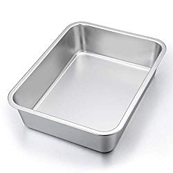P&P CHEF Lasagna Pan, Rectangular Cake Pan Roaster Pasta Baking Cookie Sheet Pan Stainless Steel, 12.75″x10″x3.2″, Heavy Duty & Durable, Oven & Dishwasher Safe
