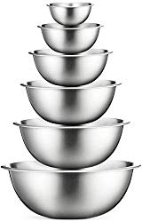 Premium Stainless Steel Mixing Bowls (Set of 6) Stainless Steel Mixing Bowl Set – Easy To Clean, Nesting Bowls for Space Saving Storage, Great for Cooking, Baking, Prepping