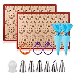 Silicone Baking Mat Macaron Mat Kit(14pcs set) Macaroon Baking Mat Set of 2 Half Sheet Macaron Silicone Mat Nonstick Macaron Mat Sheet,6 Piping Tip,2 Piping Bag with 2 Bag Tie,1 coupler (11.6″x16.5″)